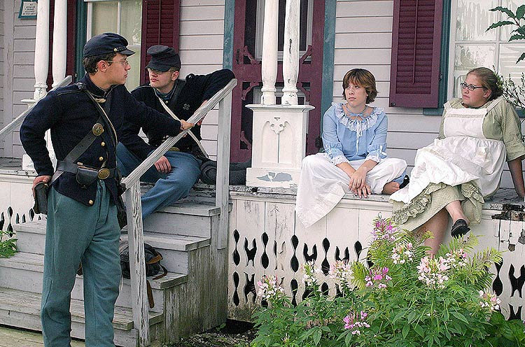 Civil War reenactment, along with costumed interpreters who explained
